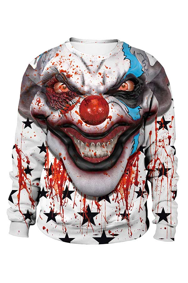 Bloody Clown Print Pullover Sweatshirt For Halloween Light Grey