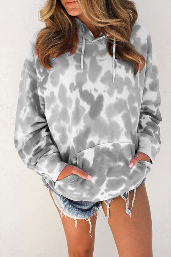Long Sleeve Tie Dye Hoodie With Kangaroo Pocket Gray