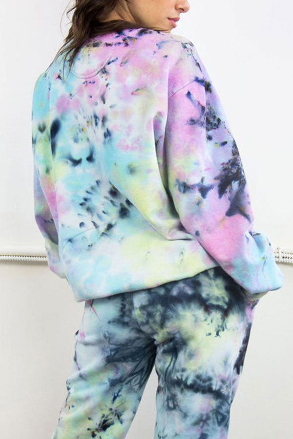 Long Sleeve Loose Tie Dye Sweatshirt Light Green