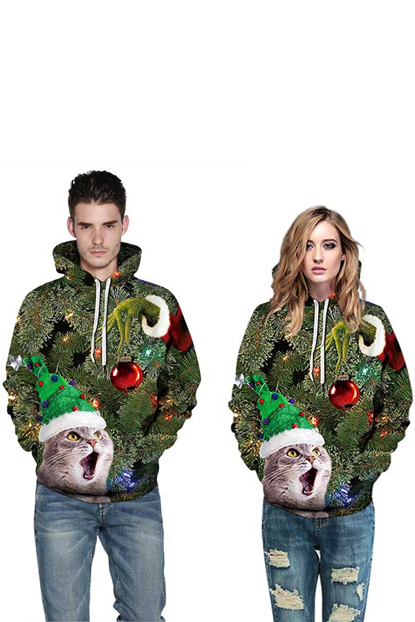 Unisex Cat Christmas Tree Print Long Sleeve Pullover Hoodie Olive