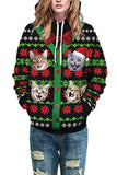 Long Sleeve Christmas Cat Print Pullover Hoodie Olive Green