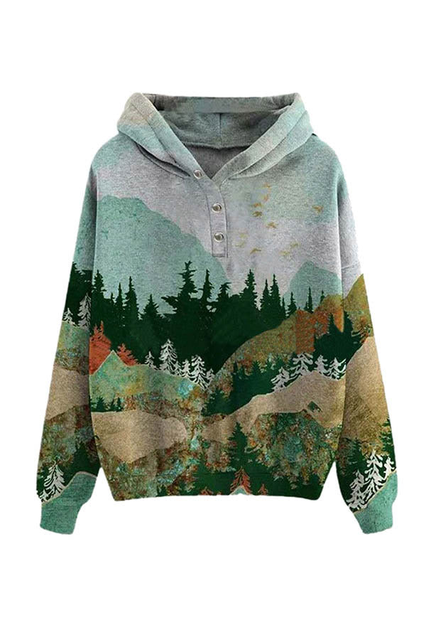 Forest Print Plus Size Hoodies For Women