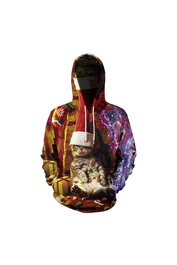 Christmas Candy Kitten Couple Hoodie Multicolour