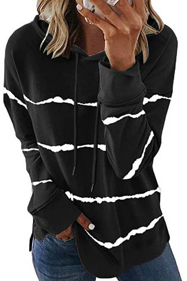 Womens Casual Black And White Striped Hoodie