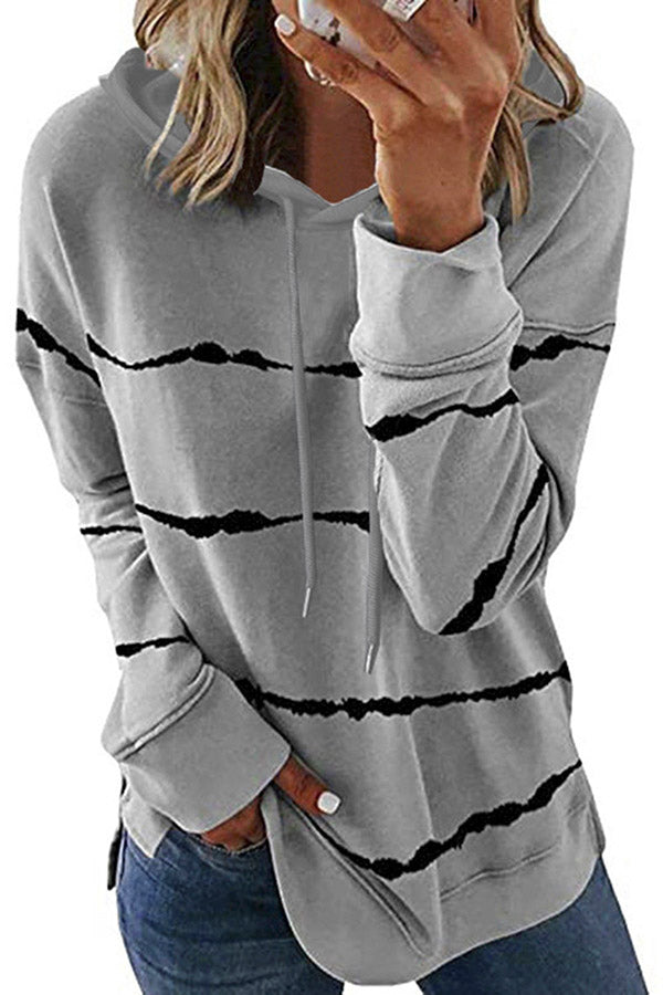 Casual Long Sleeve Striped Hoodie For Women