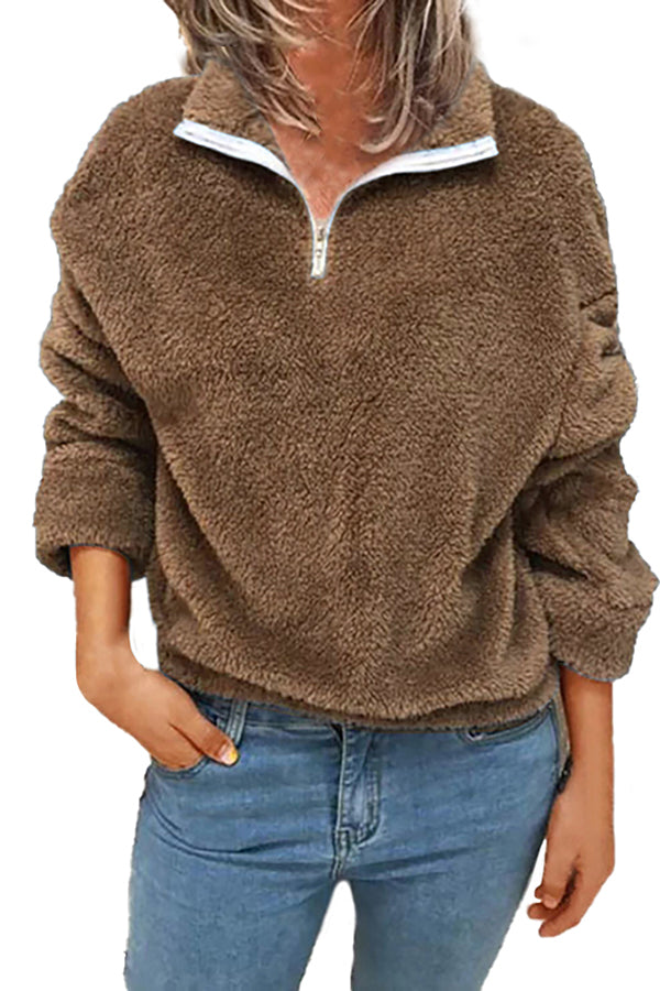 Plus Size Womens 1/4 Zipper Fuzzy Sweatshirt Pullover Outwear