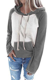 Plus Size Long Sleeve Color Block Pullover Hoodie