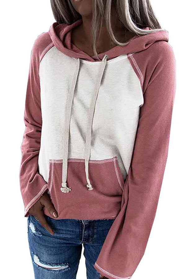 Plus Size Long Sleeve Color Block Hoodie For Women