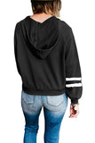 Womens Striped Color Block Hooded Sweatshirt Black
