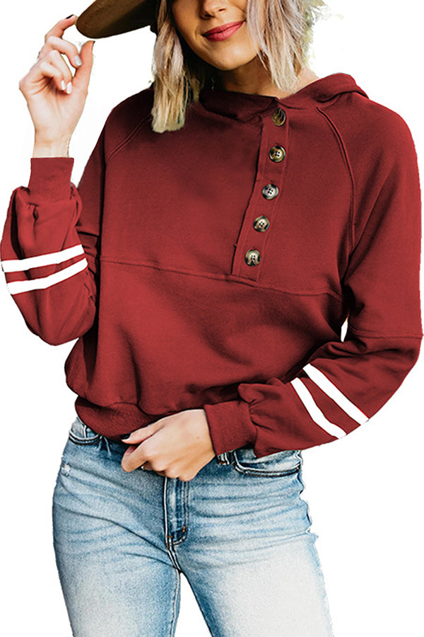 Womens Striped Sweatshirts Hoodies Pullover With Button