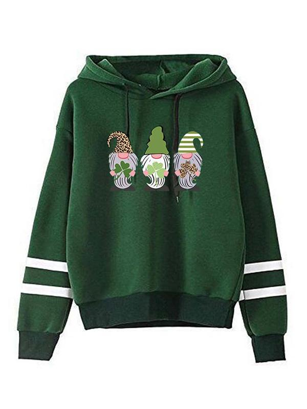 St Patricks Day Gnome Clover Graphic Hoodie