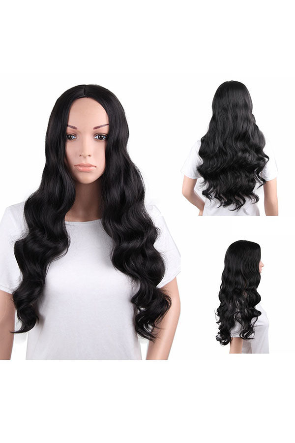 High Density Heat Resistant Synthetic Long Wave Hair Wigs Black