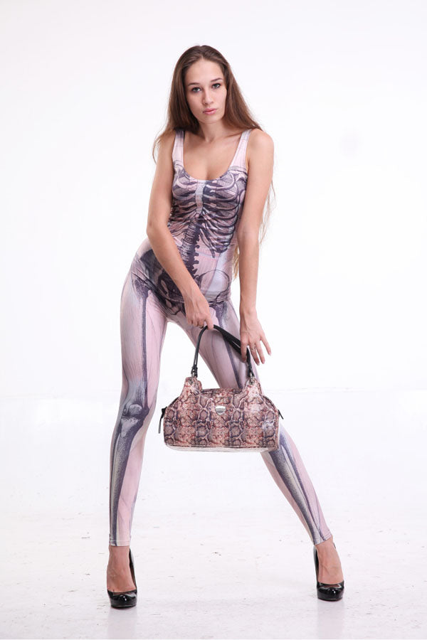 Light Pink Fashion Skeleton Printed Bodysuit Jumpsuits for Women