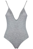 Womens Charming Deep V Neck Straps Bodysuit Gray