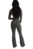 Womens Mock Neck Long Sleeve Plain Zipper Back Jumpsuit Dark Gray