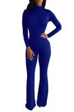 Womens Mock Neck Long Sleeve Plain Zipper Back Jumpsuit Sapphire Blue