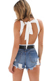 Womens Plain Lace Up Backless One Piece Bodysuit White