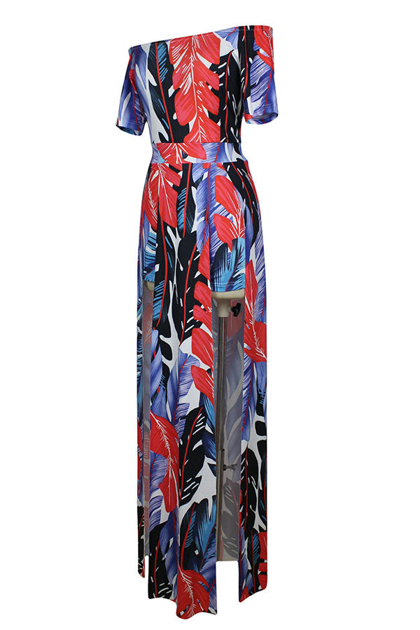 Womens Boat Neck Feather Printed Slit Maxi Romper Dress Red