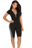 Zipper Front Hooded Short Sleeve Stripe Sides Plain Sports Romper Black