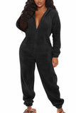 Zip Front Hooded Long Sleeve Onesie Jumpsuit For Women
