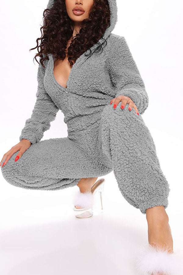 Solid Fluffy Long Sleeve Onesie Pajama