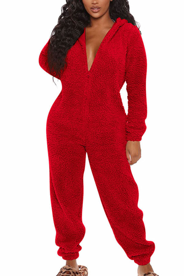 Solid Zip Up Long Sleeve Jumpsuit Onesie Pajama