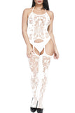 Sexy Halter Bodystocking Lace Sheer White