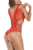 Sassy Cut Out Teddy Fishnet Red