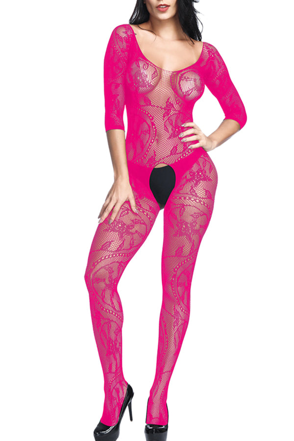 3/4 Sleeve Swirl Floral Lace Bodystocking Rose Red