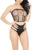 Sexy Tube Top High Waisted Fishnet Bra Set Black