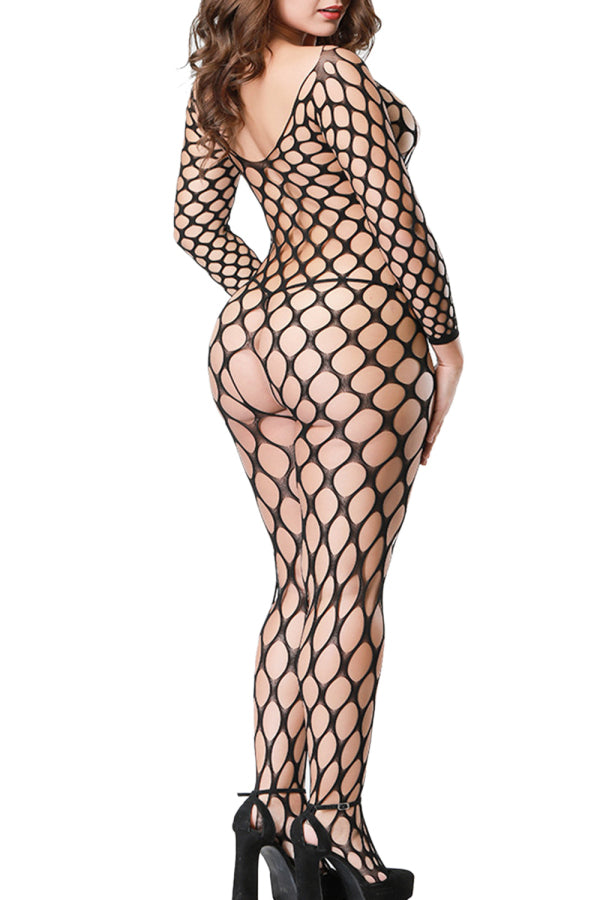 Sexy Bodystocking Fishnet Long Sleeve Black