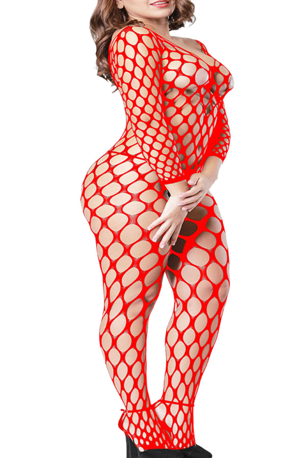 Midnight See Through Bodystocking Fishnet Red