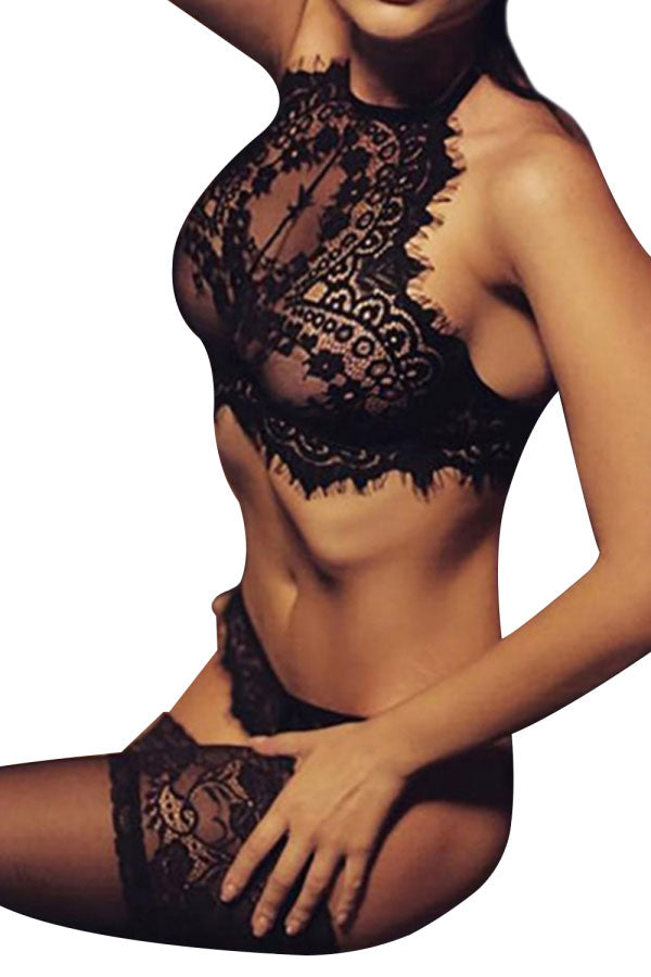 Sexy Eyelash Lace Trim Lingerie Set Black