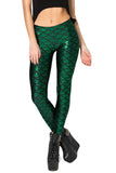Womens Mermaid Fish Scales Print Shiny Ankle-length Leggings Green