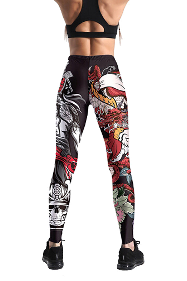 Womens Stretchy Skinny High Waisted Graphic Printed Leggings Ruby