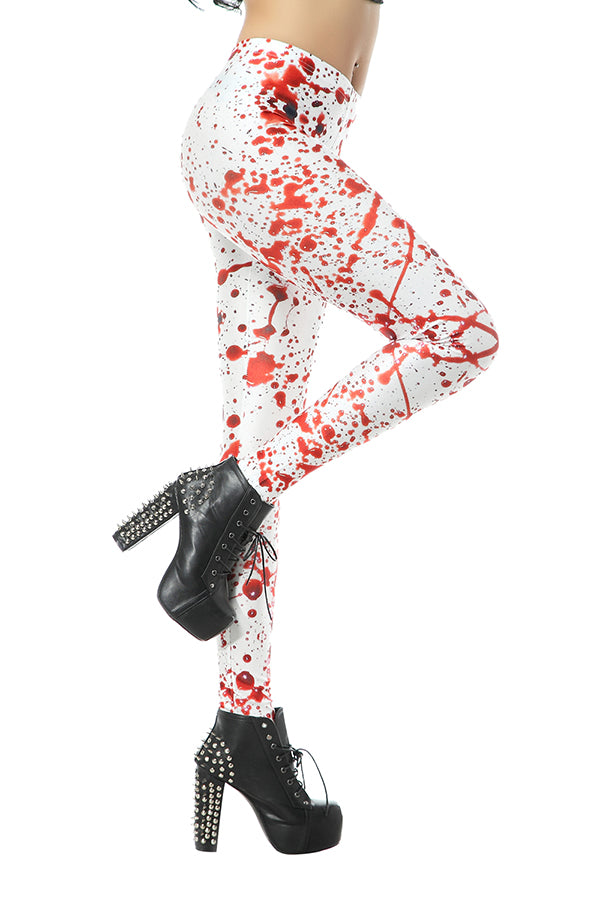Elastic Blood Splatter Print Yoga Workout Leggings White