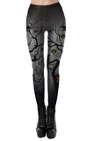 High Waisted Pumpkin Darkness Print Scary Halloween Leggings Gray