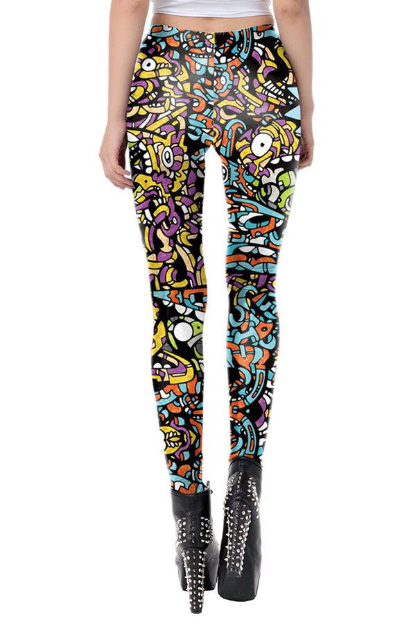 Skinny High Waisted Rick And Morty Print Leggings