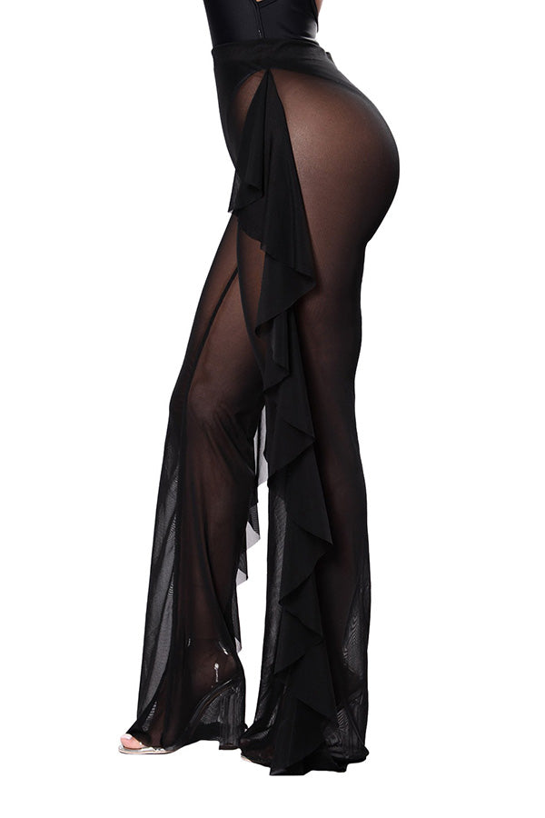 Plus Size Mesh Ruffle See Through High Waisted Pants Black