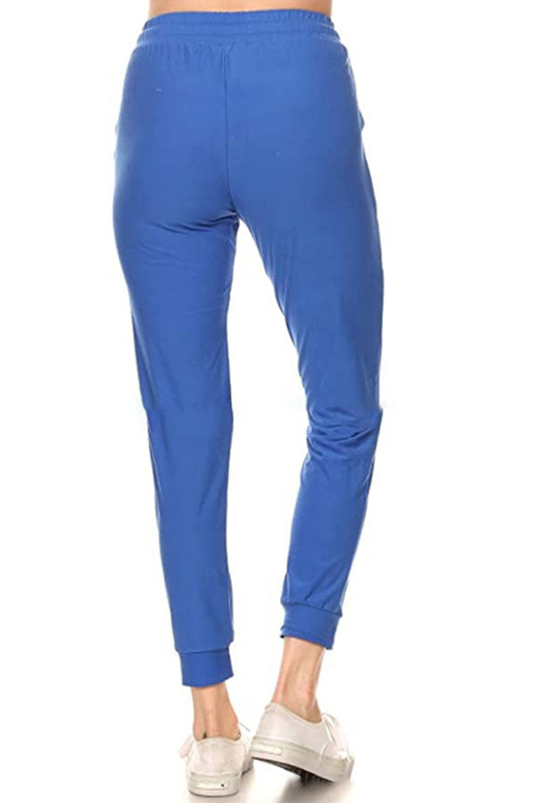 Women's Pocket Plain High Waisted Jogger Sweatpants Blue