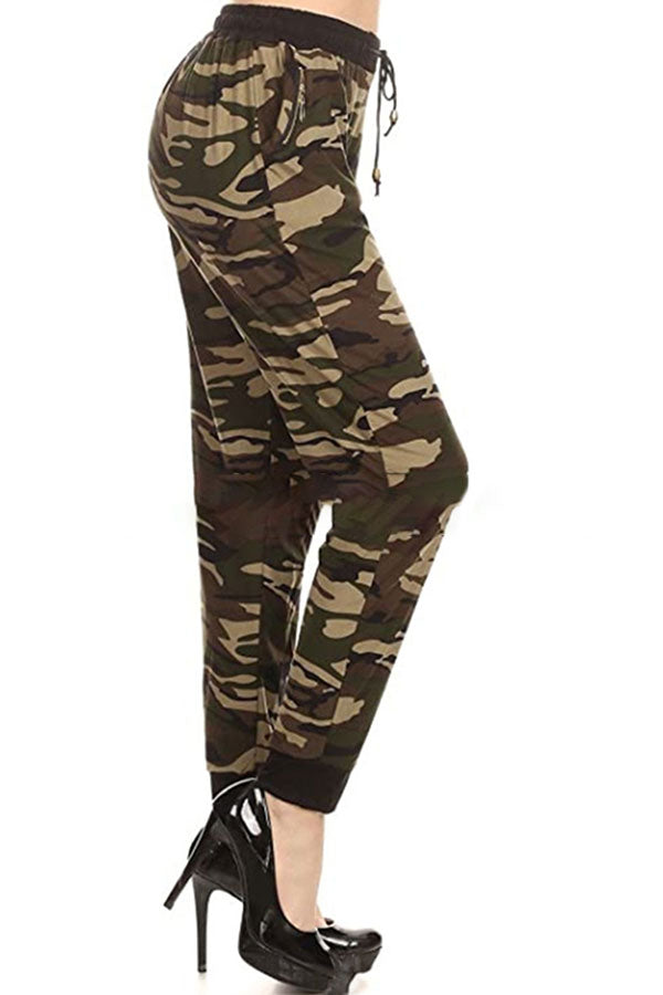 Pocket High Waisted Camo Print Jogger Pants For Women Green