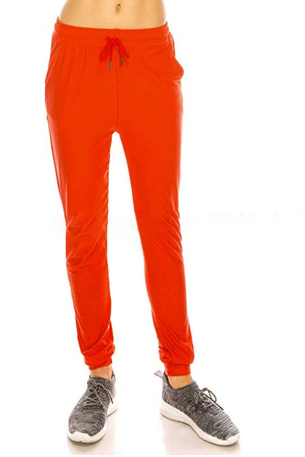 Women's Plain High Waisted Jogger Sweatpants With Pocket