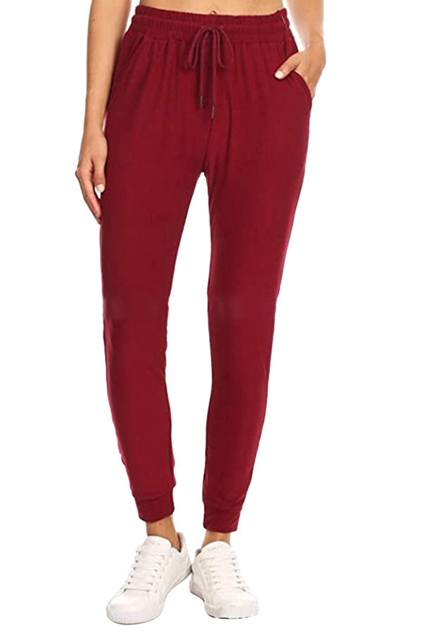 Women's Plain High Waisted Jogger Pants With Pocket Ruby