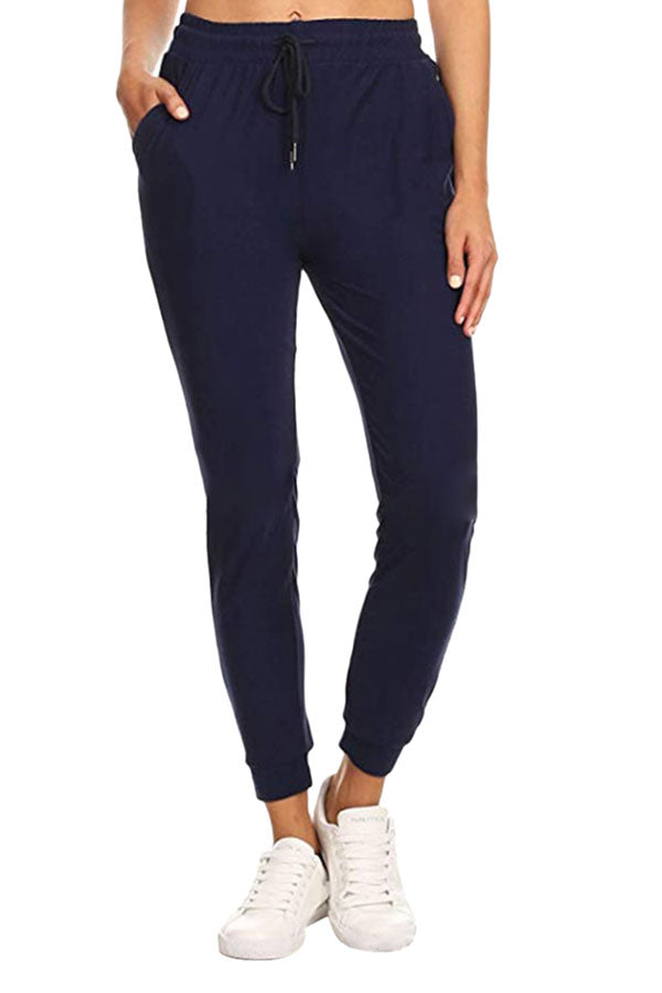 Women's Solid High Waisted Jogger Pants With Pocket Navy Blue