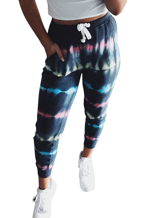 High Waisted Drawstring Tie Dye Pocket Skinny Pants Blue