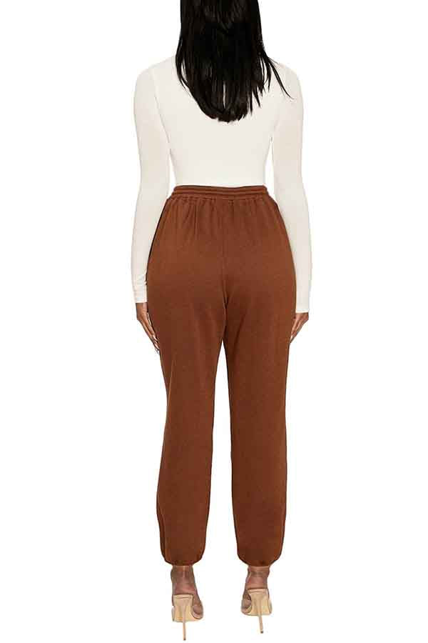 Solid Drawstring High Waisted Jogger Brown