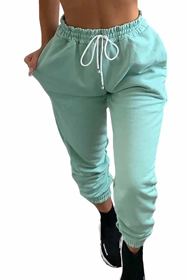 Solid High Waisted Jogger Pants Turquoise