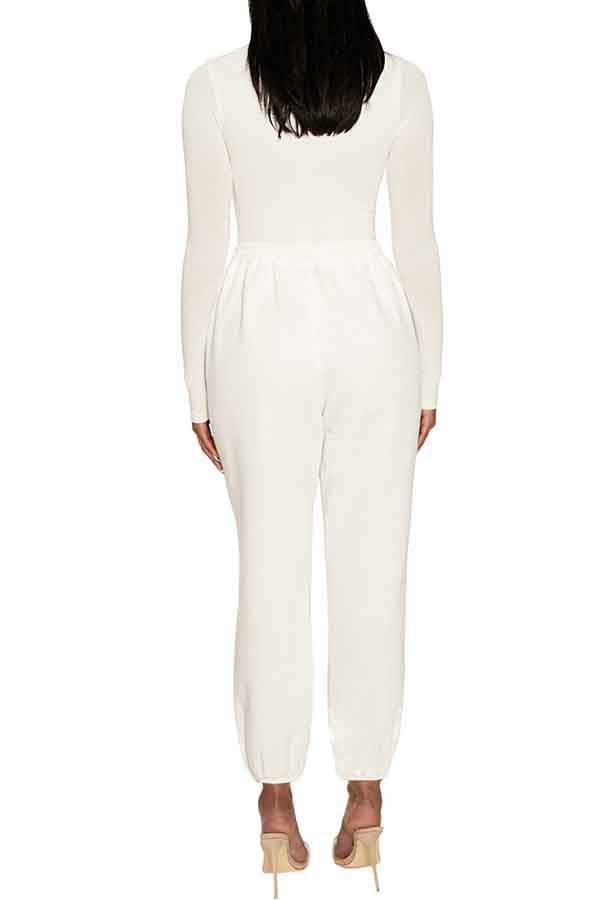 Sports Solid High Waisted Sweat Pants White