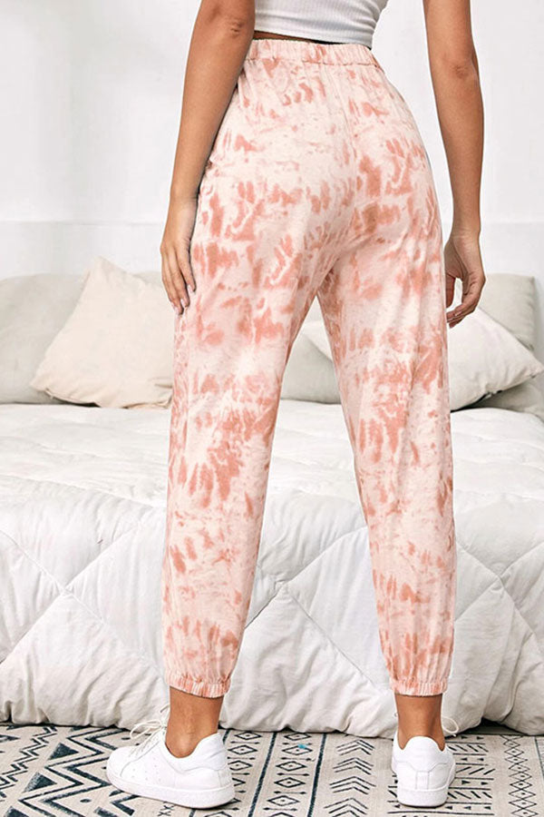 High Waisted Tie Dye Casual Pants Pink