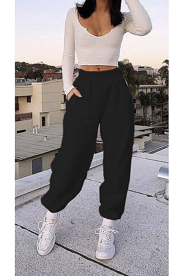 Solid Oversized Basic Joggers For Women